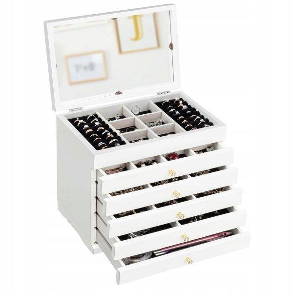 Szkatułka na biżuterię kuferek z szufladami i lusterkiem