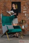 Fotel HAMPTON VELVET ciemny zielony, tkanina pepitka biało - czarna - złota podstawa