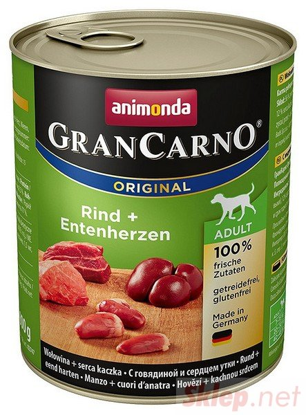 Animonda GranCarno Adult Rind Entenherzen Wołowina + Serca kacze puszka 800g
