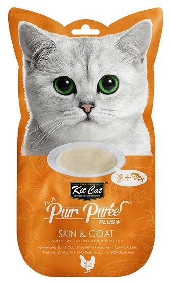 Kit Cat PurrPuree Plus+ Chicken Skin&Coat 4x15g