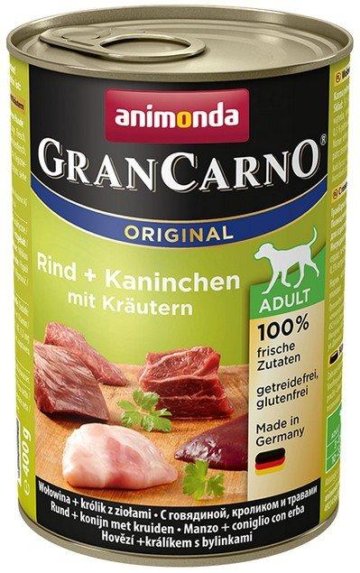 Animonda GranCarno Adult Rind Kaninchen Krautern Wołowina + Królik z Ziołami puszka 400g