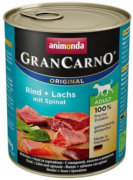 Animonda GranCarno Adult Rind Lachs Spinat Wołowina, Łosoś + Szpinak puszka 800g