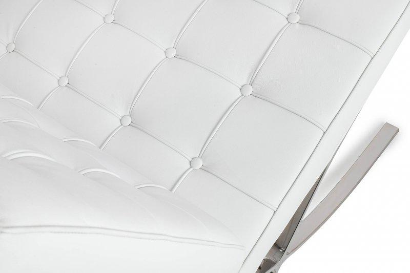 Fotel BARCELON PRESTIGE PLUS biały - włoska selekcjonowana skóra naturalna, stal