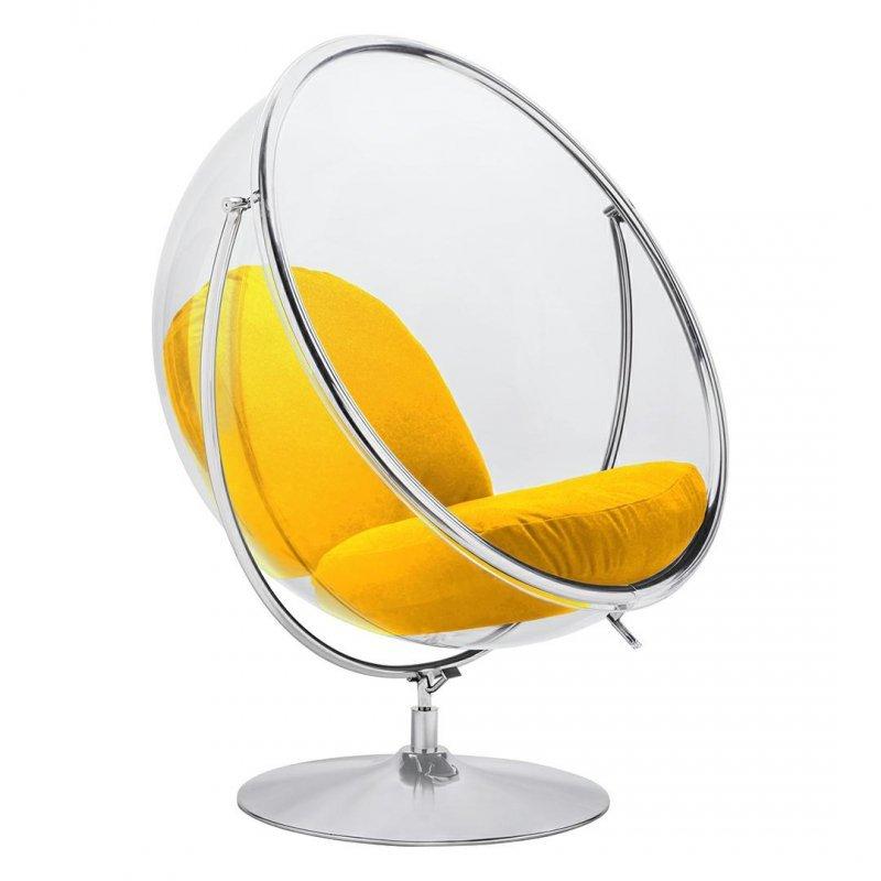 Fotel BUBBLE STAND 2 poduszka żółta - akryl, chrom, wełna