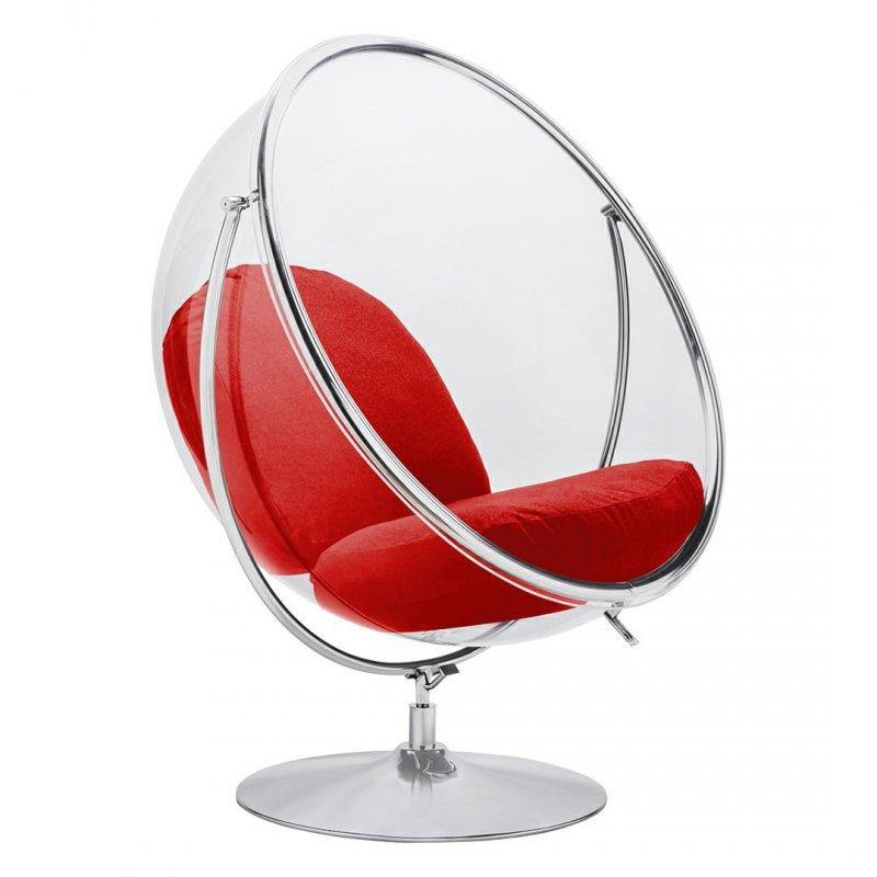 Fotel BUBBLE STAND 2 poduszka czerwona - akryl, chrom, wełna