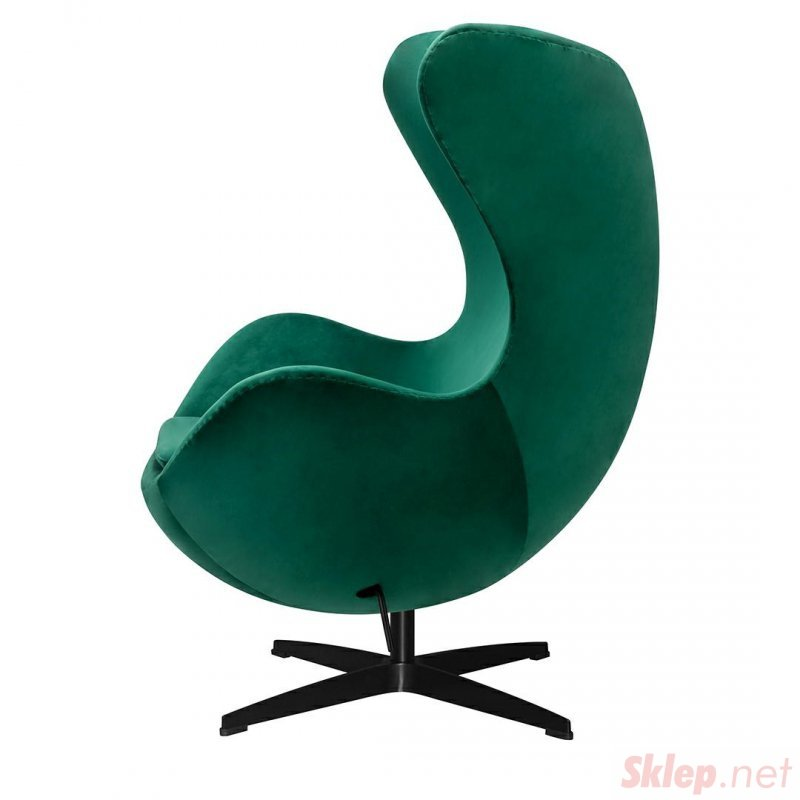 Fotel EGG CLASSIC VELVET BLACK zielony - welur, podstawa czarna