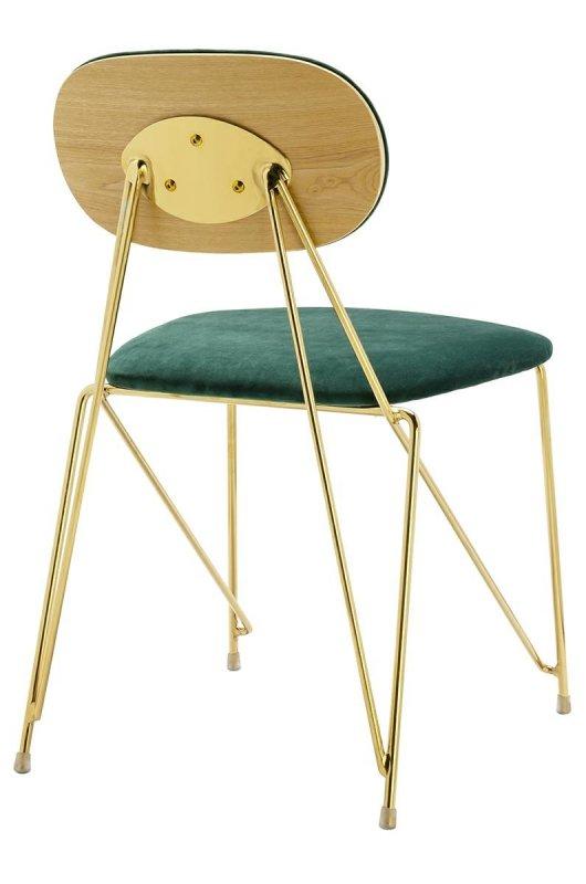 Krzesło MOLY ciemny zielony - welur, podstawa złota