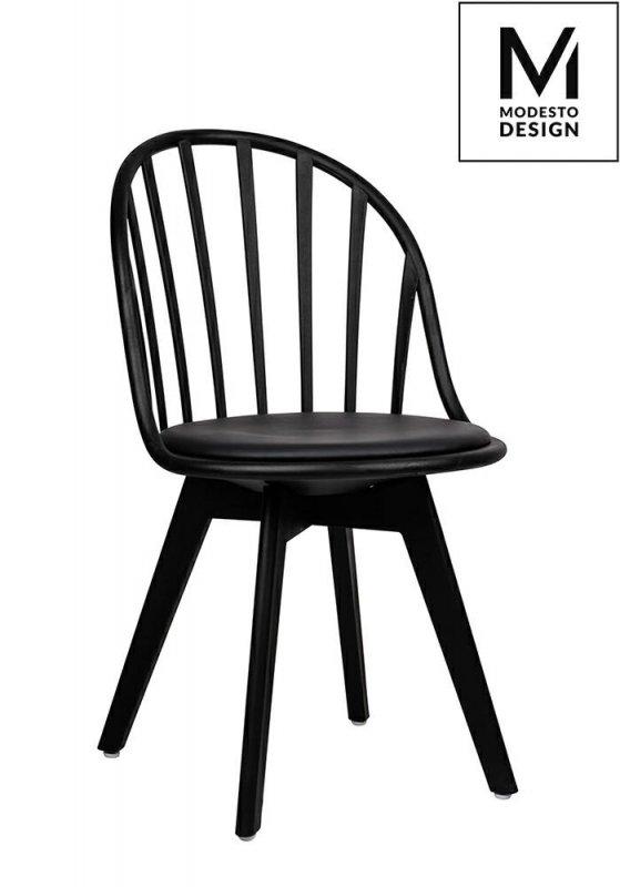 MODESTO krzesło ALBERT czarne - polipropylen, ekoskóra