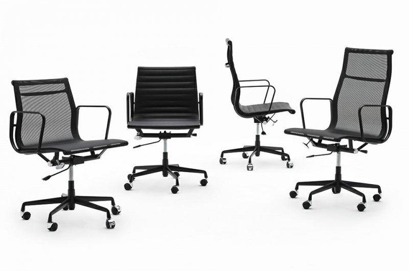 Fotel biurowy AERON PRESTIGE PLUS czarny - skóra naturalna, aluminium