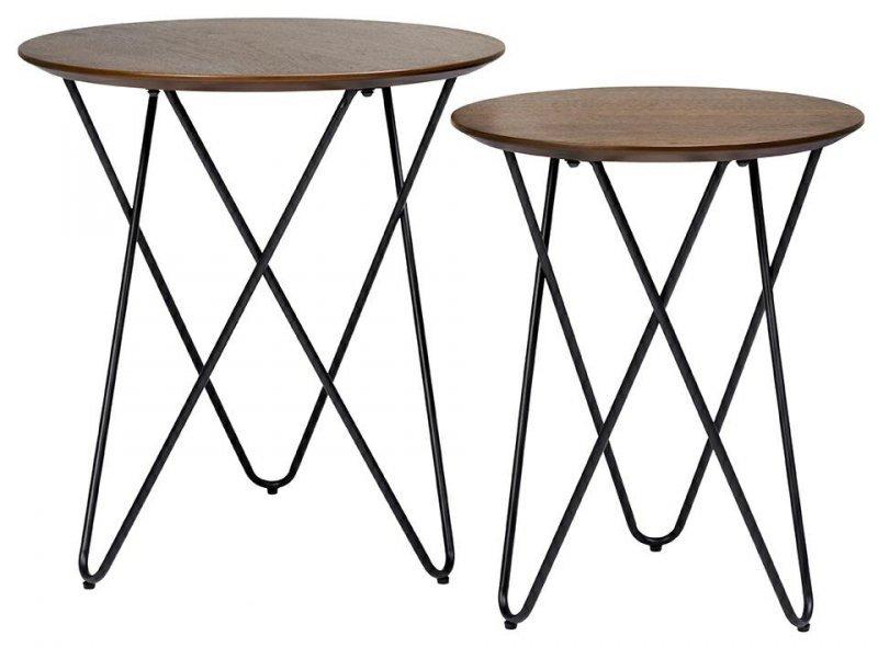Zestaw stolików TAKING dąb - MDF fornirowany, metal