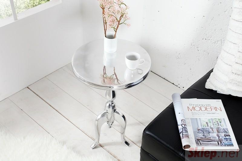 INVICTA stolik JARDIN 55cm srebrny - aluminium