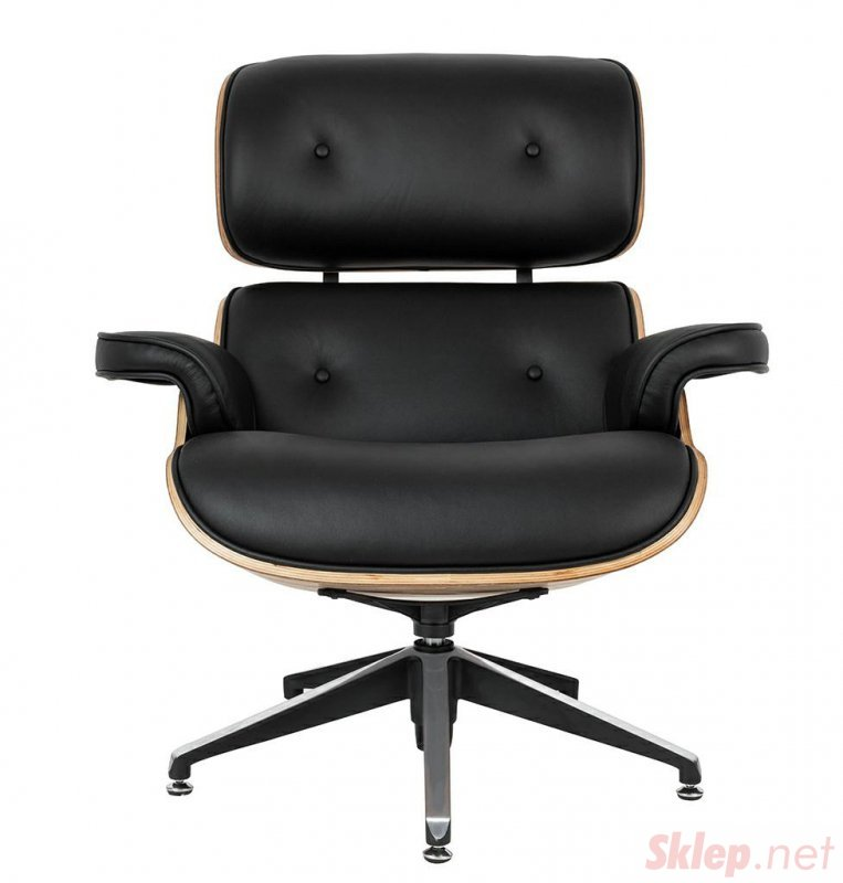 Fotel LOUNGE czarny, sklejka jesion - skóra naturalna