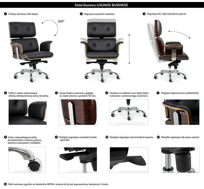 Fotel biurowy LOUNGE BUSINESS czarny - sklejka orzech, skóra naturalna, stal polerowana