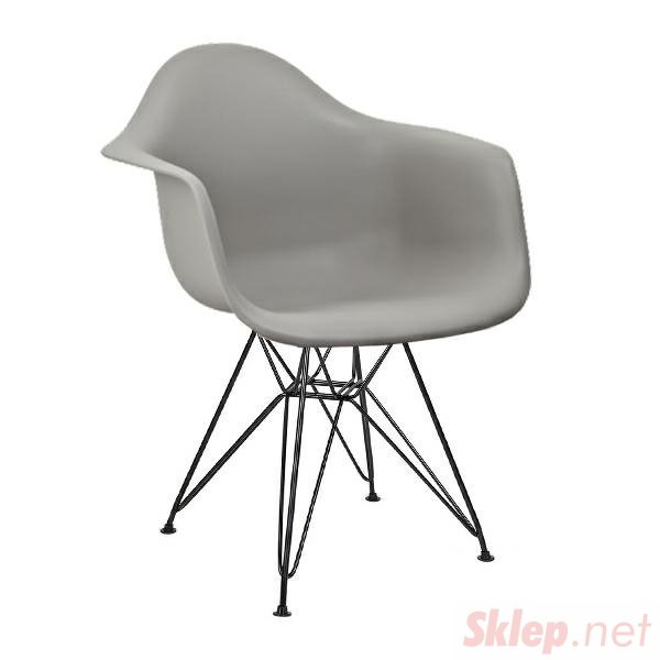Fotel DAR BLACK szary.30 - polipropylen, podstawa czarna