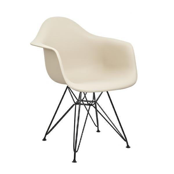 Fotel DAR BLACK beżowe.18 - polipropylen, podstawa czarna