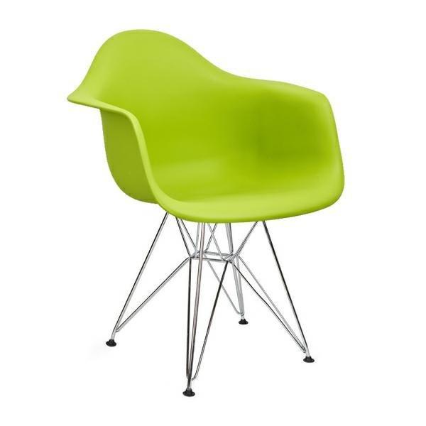 Fotel DAR SILVER soczysta zieleń.13 - polipropylen, podstawa chromowana