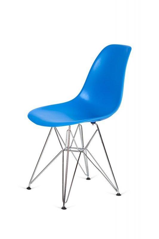 Krzesło DSR SILVER niebieski.11 - podstawa metalowa chromowana