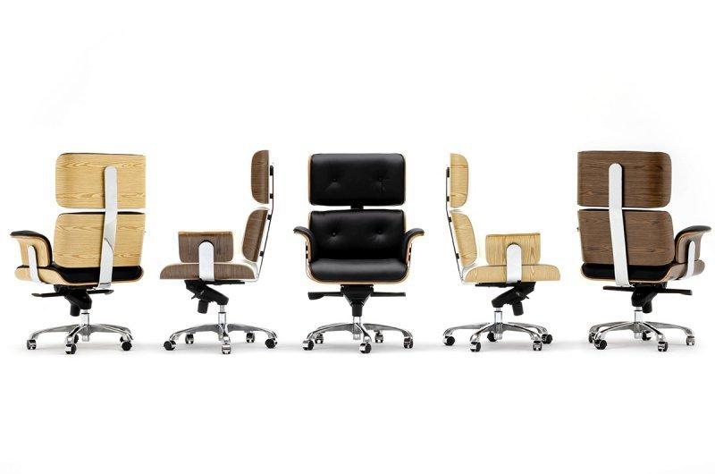 Fotel biurowy LOUNGE BUSINESS czarny - sklejka różana, skóra naturalna, stal polerowana