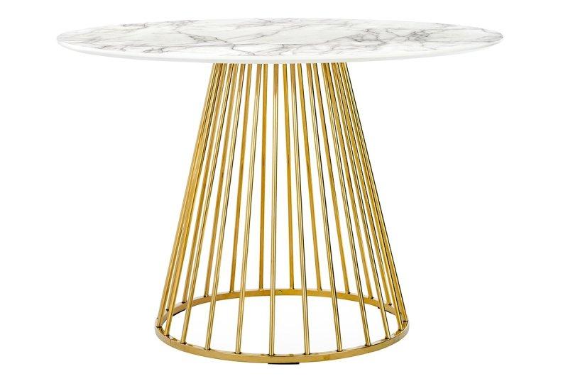 Stół GLAM MARBLE  - MDF, złota podstawa