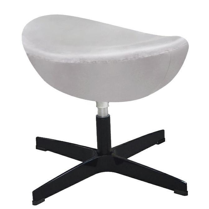 Fotel EGG CLASSIC VELVET BLACK jasny szary z podnóżkiem - welur, podstawa czarna