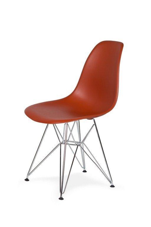 Krzesło DSR SILVER ceglasty.28 - podstawa metalowa chromowana