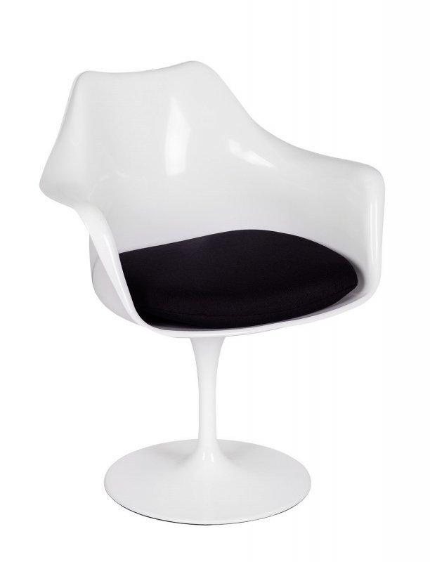 Fotel TULIP biały z czarną poduszką - ABS, podstawa metalowa