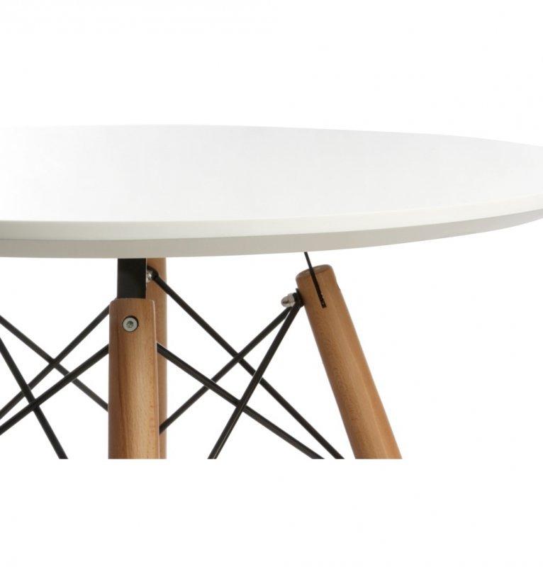 Stół DSW FI 70 biały - blat MDF, podstawa bukowa