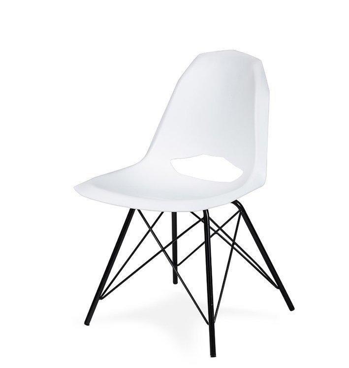 Krzesło GULAR DSM białe - polipropylen, podstawa czarna metalowa