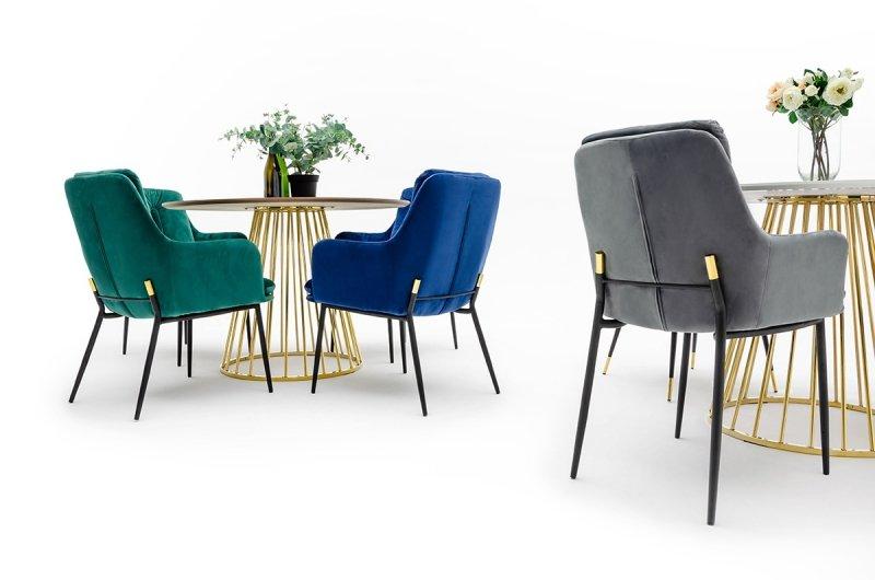 Krzesło GRANT granatowe - welur, podstawa czarno złota