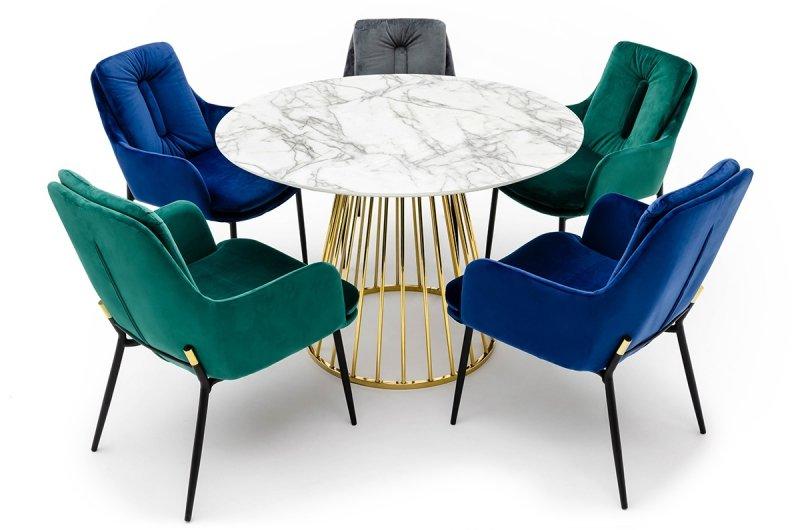 Fotel GRANT LOUNGE zielony - welur, podstawa czarno-złota