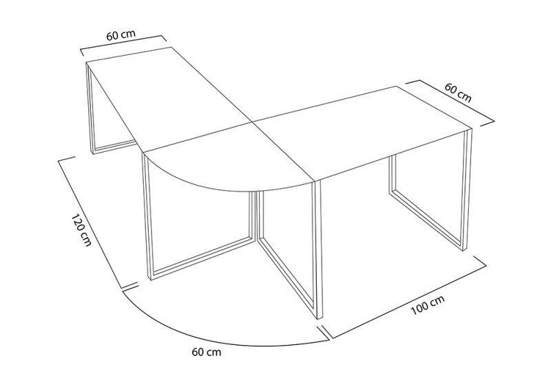 INVICTA biurko narożne BIG DEAL czarne - szkło, metal chromowany