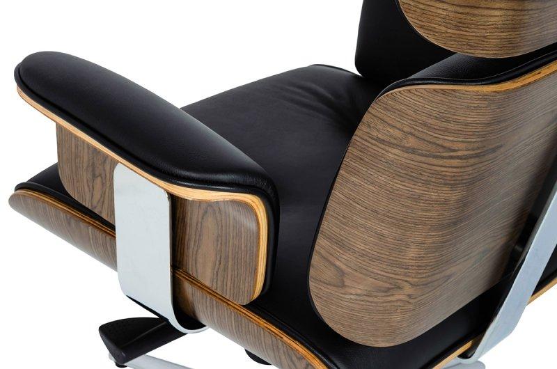 Fotel biurowy LOUNGE BUSINESS czarny z podnóżkiem - sklejka orzech, skóra naturalna, stal polerowana