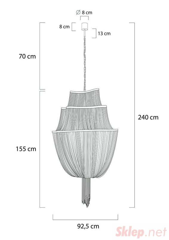 Lampa wisząca ATLANTA 2 - aluminium, stal