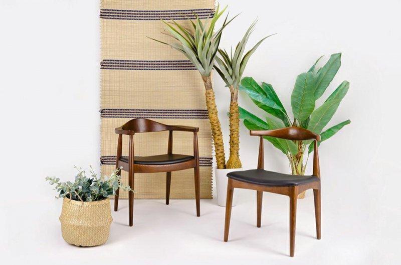 Krzesło KENNEDY ciemnobrązowe - drewno jesion, ekoskóra