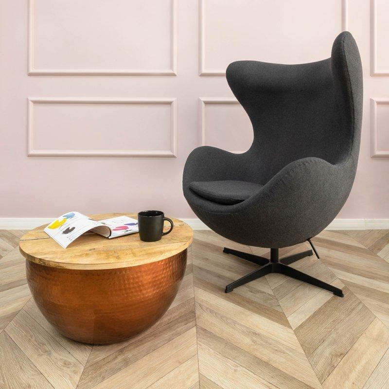 Fotel EGG CLASSIC BLACK grafitowy szary.4 - wełna, podstawa czarna