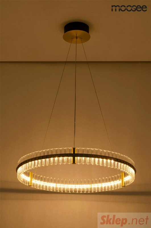 MOOSEE lampa wisząca SATURNUS 85 złota - LED, kryształ, stal szczotkowana