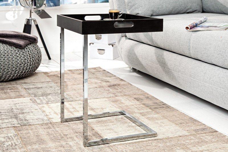 INVICTA stolik CIANO czarny - zdejmowany blat, chrom