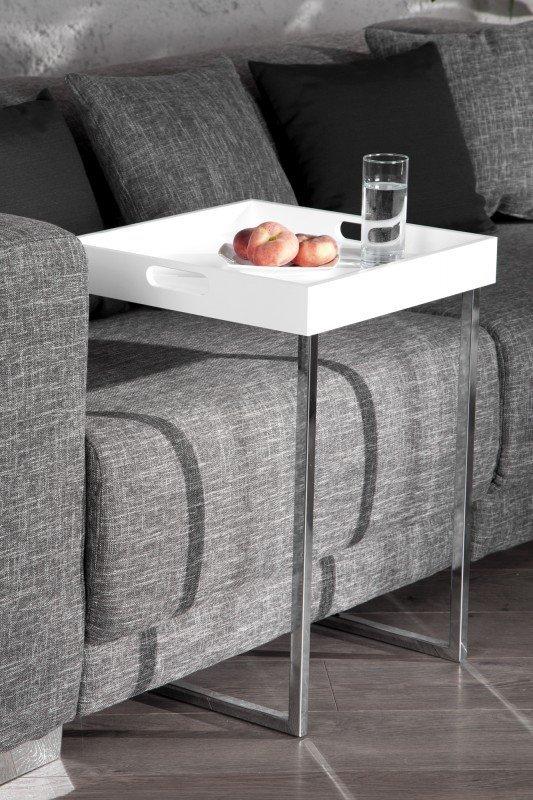 INVICTA stolik CIANO biały - zdejmowany blat, chrom