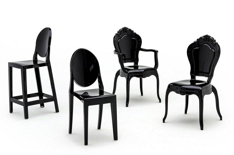 Krzesło KING ARM czarne - poliwęglan