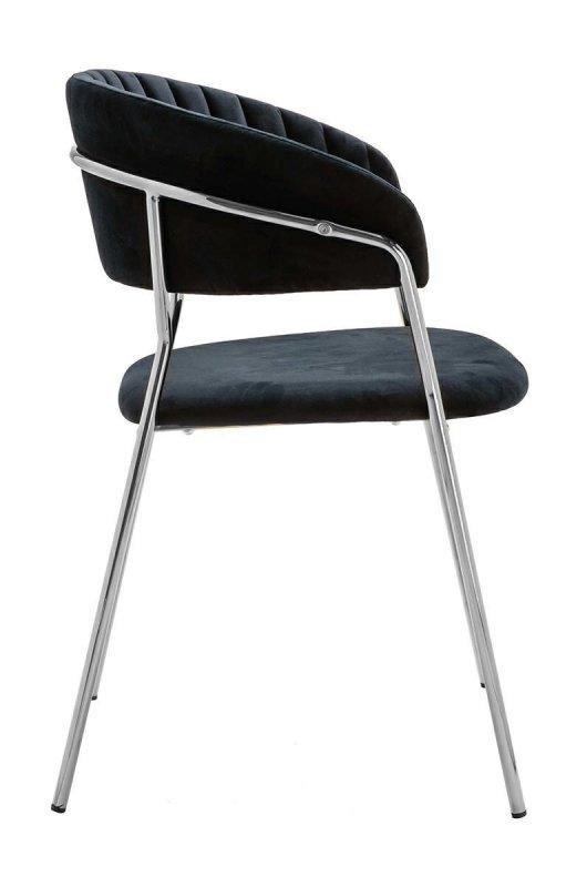 Krzesło MARGO SILVER czarne - welur, podstawa chromowana