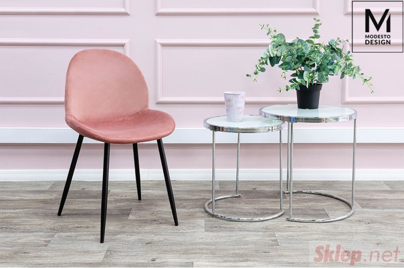 MODESTO krzesło SCOOP pudrowy róż - welur, metal
