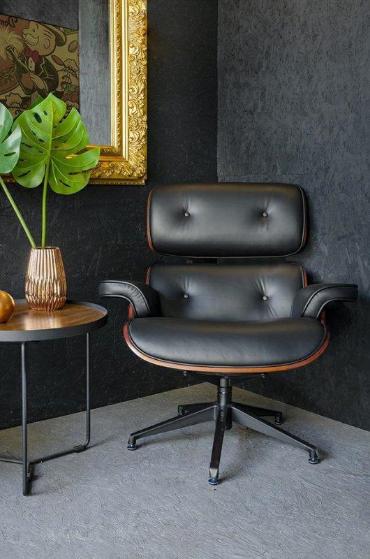Fotel LOUNGE czarny, sklejka różana - skóra naturalna
