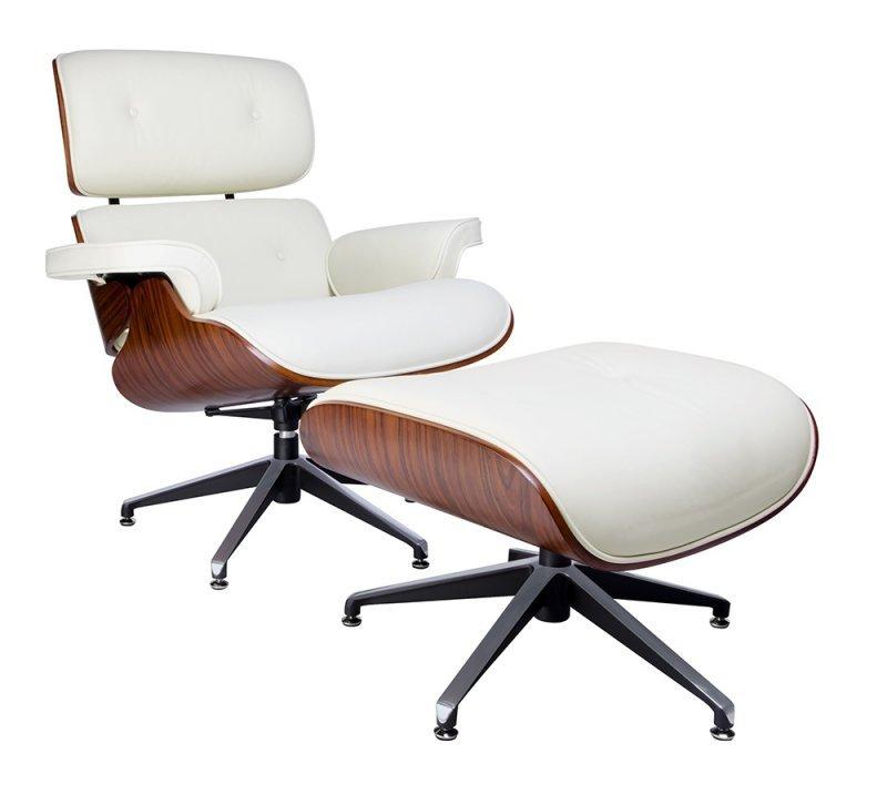 Fotel LOUNGE biały z podnóżkiem - skóra naturalna, sklejka różana