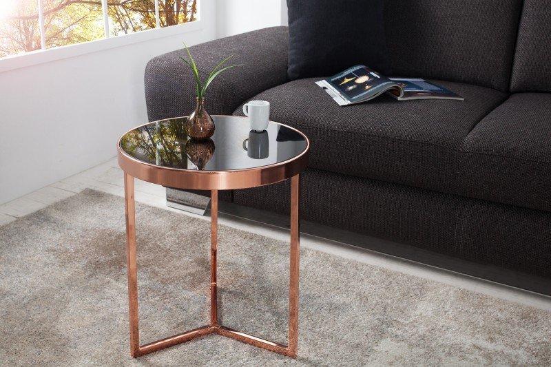 INVICTA stolik ART DECO 50 cm miedziany - szkło, metal