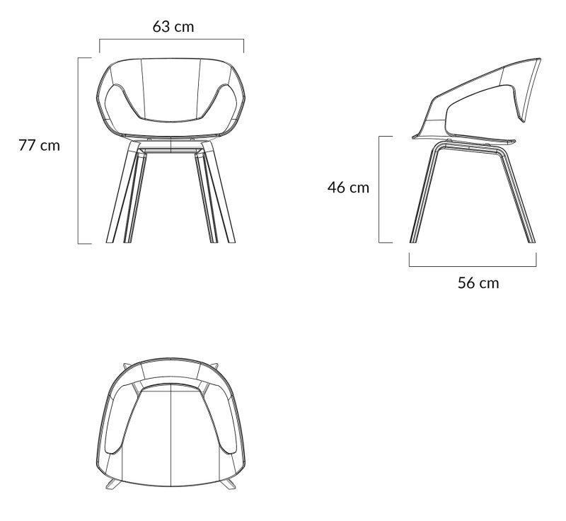 Fotel SORISSO biały - polipropylen, podstawa bukowa