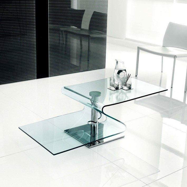 Stolik szklany TONIN transparentny - szkło, metal