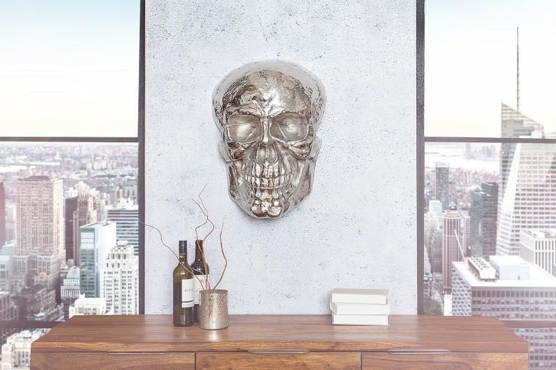 INVICTA dekoracja ścienna SKULL srebrna