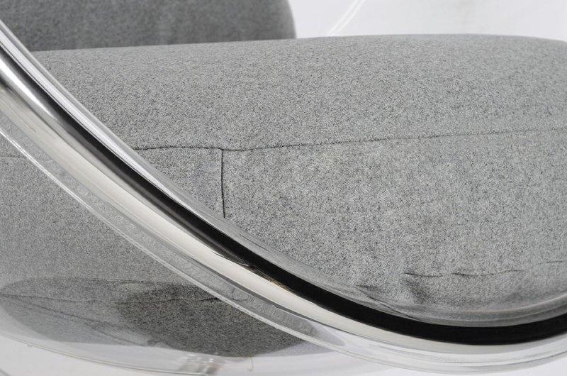 Fotel BUBBLE STAND 2 poduszka jasnoszara - akryl, chrom, wełna