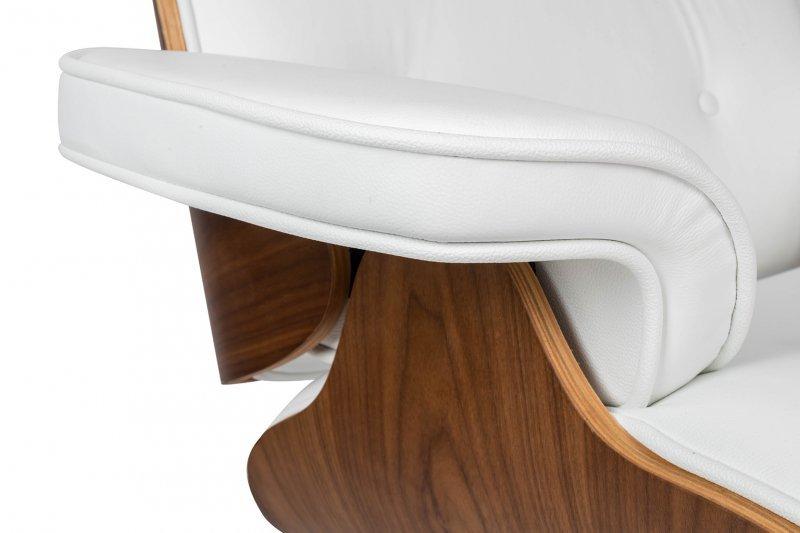 Fotel biurowy LOUNGE GUBERNATOR biały - sklejka orzech, skóra naturalna, stal polerowana