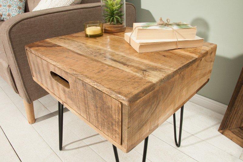 INVICTA stolik SCORPION 50 cm mango - drewno naturalne, żelazo